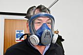 Man wearing respirator