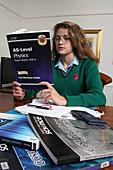 Teenager revising