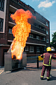 Chip pan fire demonstration