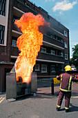 Chip pan fire demonstration