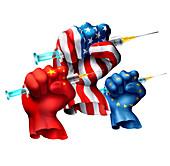 Covid-19 vaccine race, conceptual illustration