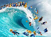 Wave of unemployment, conceptual illustration