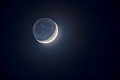 Earthshine on the waxing Moon