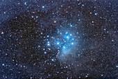 Pleiades Star Cluster amid nebulosity