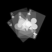 Four ace playing cards, X-ray