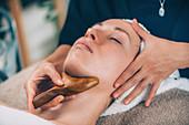 Lymphatic drainage face massage