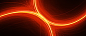 Fiery glowing curves in space, abstract illustration