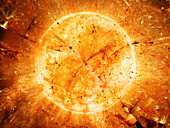 Fiery star with burst particles, abstract illustration
