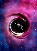 Astronaut falling into black hole, conceptual illustration
