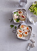 Tortilla rolls with ham and vegetables