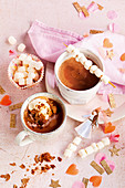 Spiced hot chocolate with mini marshmallows