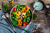 Summer lentil salad with nasturtiums and halloumi