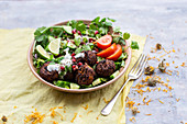 Meatballs on a bed of lettuce