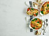 Gemüsegratin mit grünen Bohnen und Pesto-Lachs