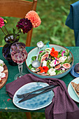 Fig and mozzarella salad with nasturtiums and blueberries