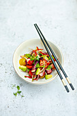 Japanese squid salad with tomatoes and avocado