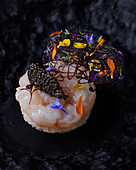 Sushi with langoustine and caviar
