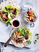 Ginger Soy Steak and Pickled Vegetable Wraps