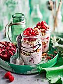 Chia Bircher with Granola, Raspberies and Coconut yoghurt