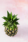 A small pineapple shot on a pale pink textured surface.
