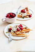 Buttermilk and tonka bean waffles with raspberries