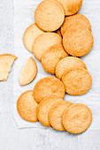 Homemade Shortbread cookies on a parchment paper