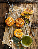 Pommes de Terre Macaire (French potato cake) on sage and almond pesto