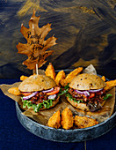 Pulled jackfruit burgers with potato wedges