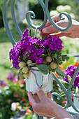 Frau hängt violetten Strauß aus Flammenblumen, Stachelbeeren und Salbeiblättern an Stuhllehne