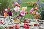 Rosen-Vielfalt im Herbst in Glasflaschen