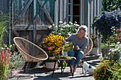 Spätsommer-Terrasse mit Sonnenhut 'Goldsturm', Chrysanthemen, Enzianbaum, Gewürztagetes, Rotgras, Bergminze, Frau sitzt im Sessel, Hund Zula