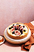 Honey and macadamia tart with figs and blackberries