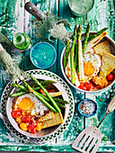 Chickpea Pancake with Fried Eggs and Cherry Tomatoes