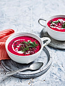 Beetroot, Dill and Coconut Soup with Crisp Ginger Lentils