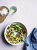 Pasta with spring vegetables and pancetta