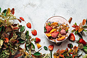 Top view of nutritious smoothie bowl with strawberries and nuts arranged on table with green plant and various fruits