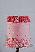 Tasty cake decorated with pink macaroons and butter cream placed on metal tray in studio