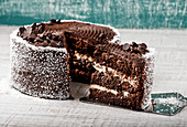 Chocolate cake with cream and coconut placed against shabby background