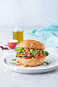 Lemony chickpea and chargrilled brinjal buns