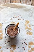 Little bowl of flax seeds