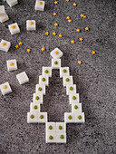 Sugar cubes decorated for Christmas