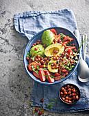Spicy chickpea, avocado and tomato salad