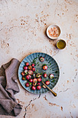 Roasted radishes with pink salt and olive oil