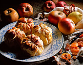 Apples in pastry with dried fruits
