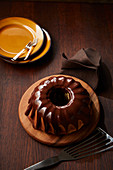 Bundt cake with chocolate icing