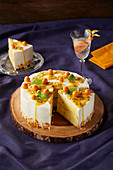 Passion fruit cake with basil