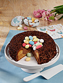 Easter basket cake with chocolate