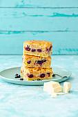 Macadamia Blueberry Brookie (Cookie Crust Brownie)