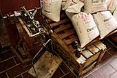 Sacks of beer ingredients in a brewery