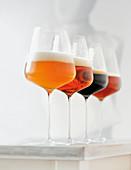 Verschiedene Sorten Craft Beer in Gläsern